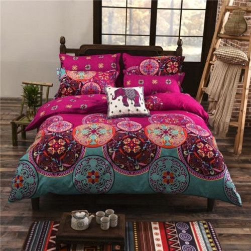 ffb3a13a55a5 Bohemian style Floral Printing Twin Queen King size boho bedding set 4pcs  duvet cover set bed linen