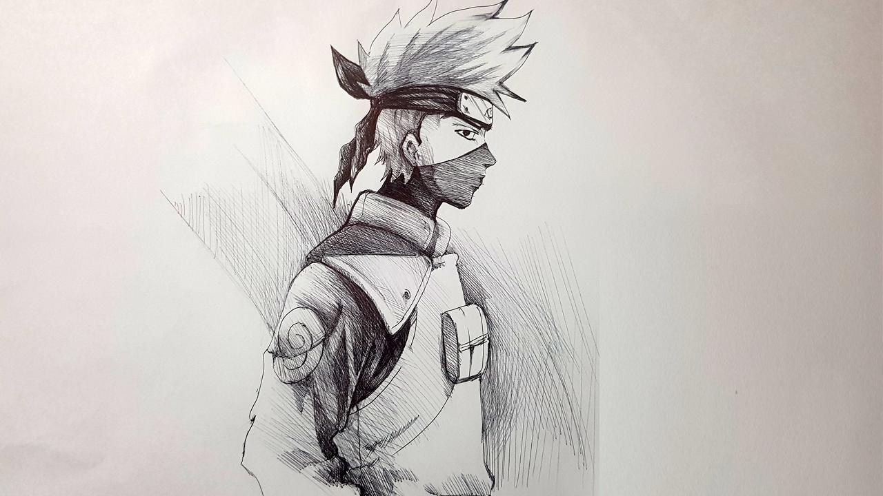 Vẽ Kakashi bằng bút bi đen