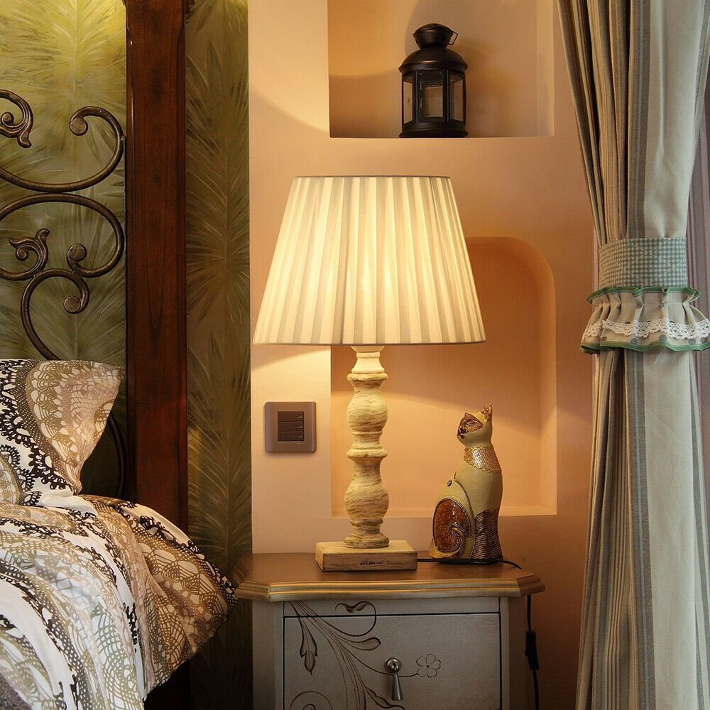 2pcs Bedside Lamp White Old Wooden Base Fabric Line Lampshade Antique Style 31 50 White La White Floor Lamp Modern Gold Table Lamps Table Lamps Living Room