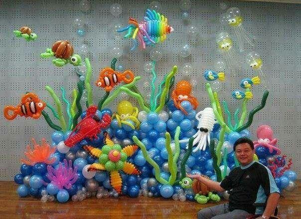 Beautiful balloon sculpture pinterest mermaid for Beautiful balloon decorations