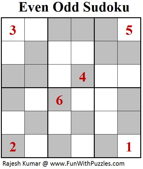 Even Odd Sudoku (Mini Sudoku Series #96)