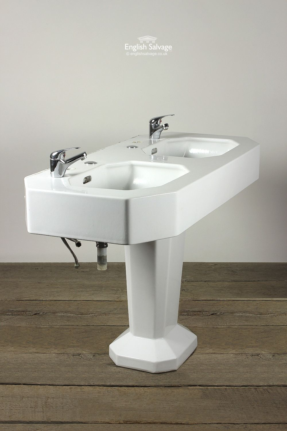 Salvaged Art Deco Double Wash Basin on Plinth | Bathrooms ...