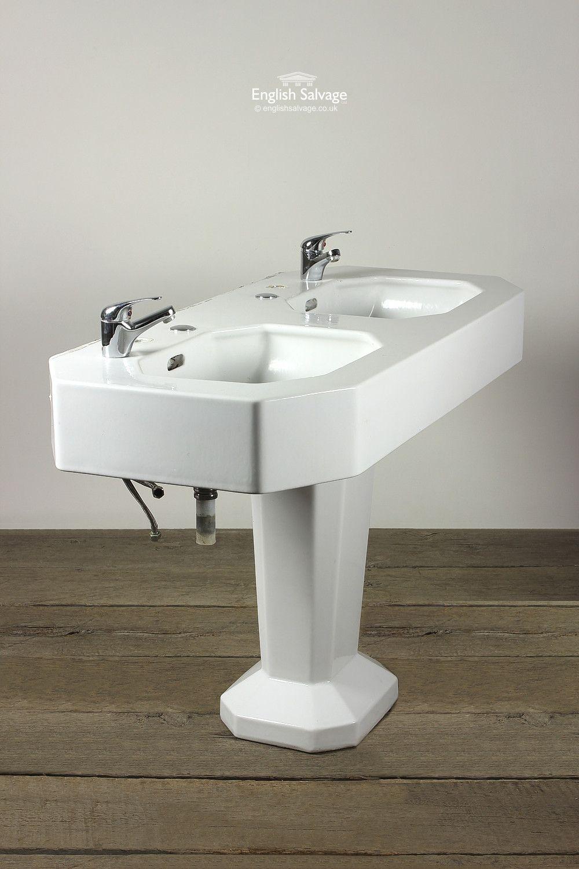 Salvaged Art Deco Double Wash Basin on Plinth | Bathrooms, Belfasts ...
