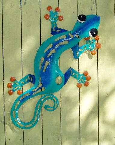 27in metal Teal Sculpted Gecko Wall Art. Hand crafted from recycled metal drums by talented Caribbean Artisans.