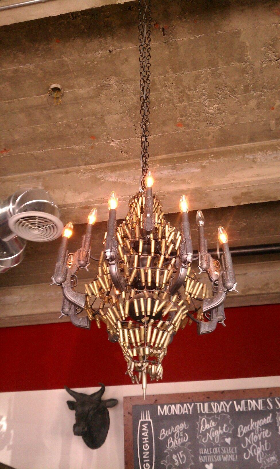 Gun chandelier hunting knives pinterest guns chandeliers and gun chandelier mozeypictures Images