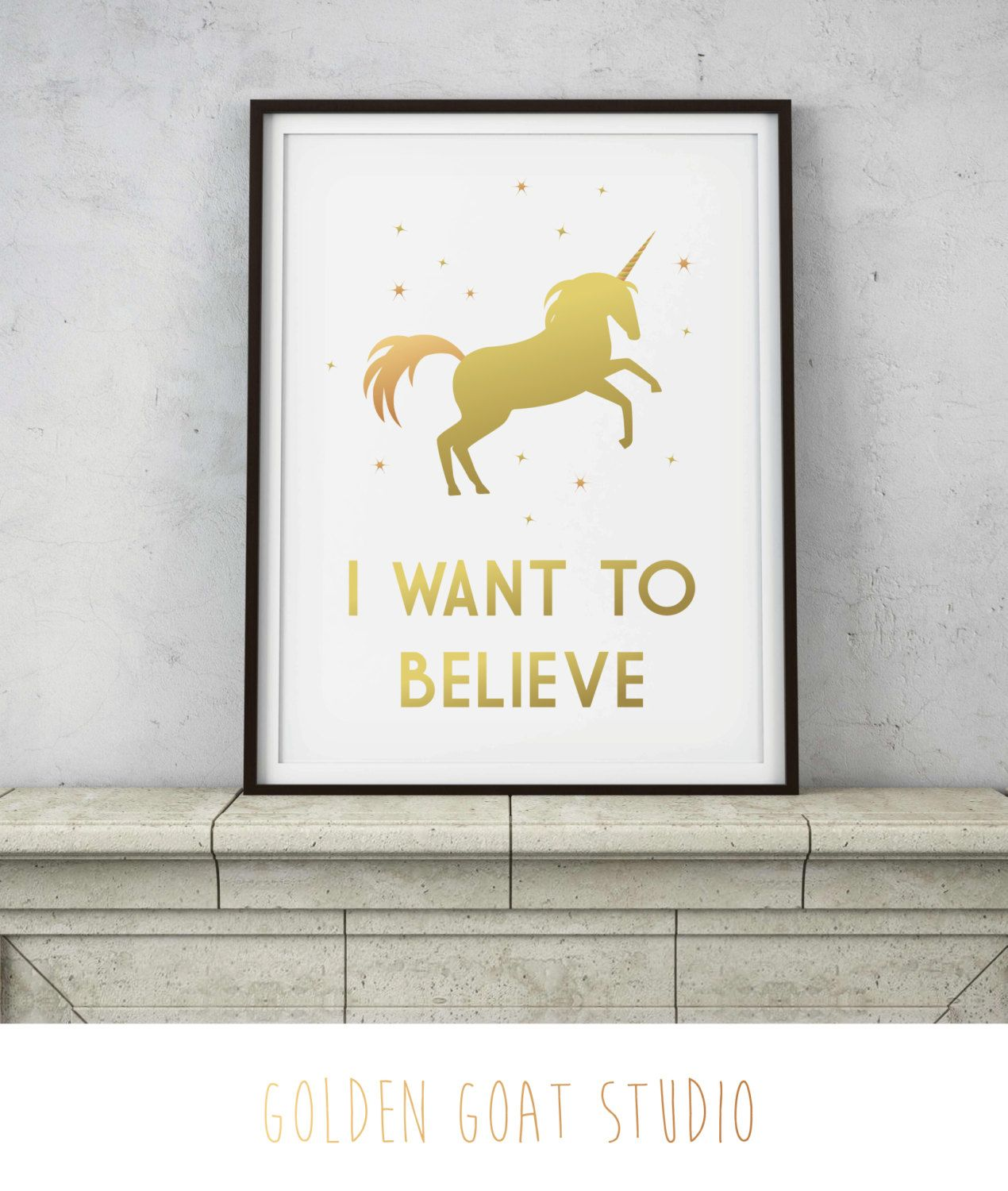 Rose Gold Wall Decor I Want To Believe In Unicorns Quote  Rose Gold Copper Wall Decor