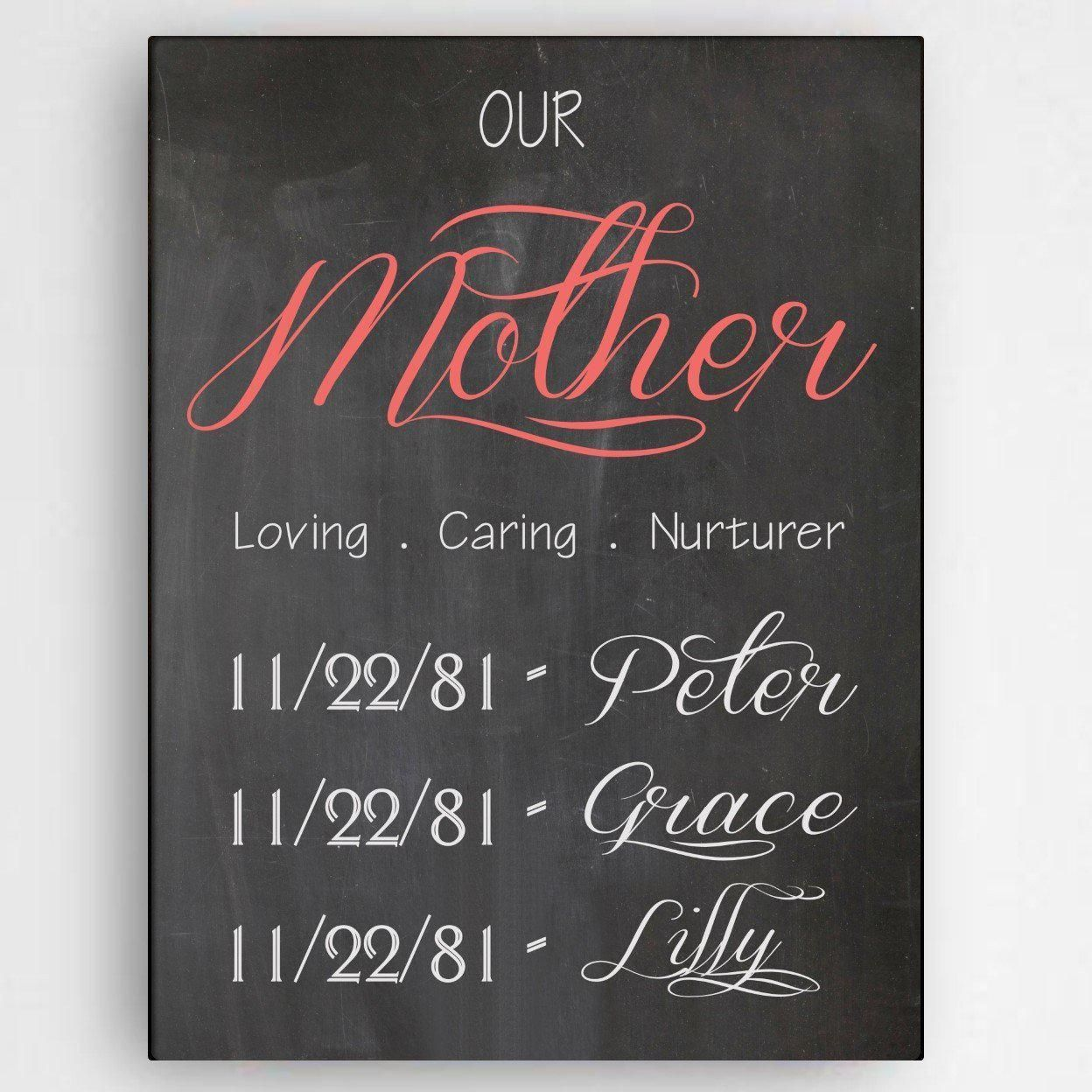Photo of Personalized Definition of A Mother Canvas Sign