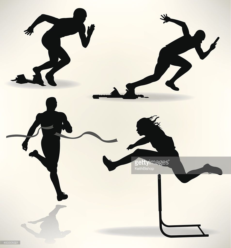 Track And Field Runners Sprinter Tight Graphic Silhouette Track And Field Sports Day Field Athletes