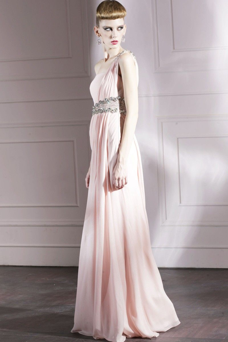 Pink beaded one shoulder full length evening prom dress formal ball