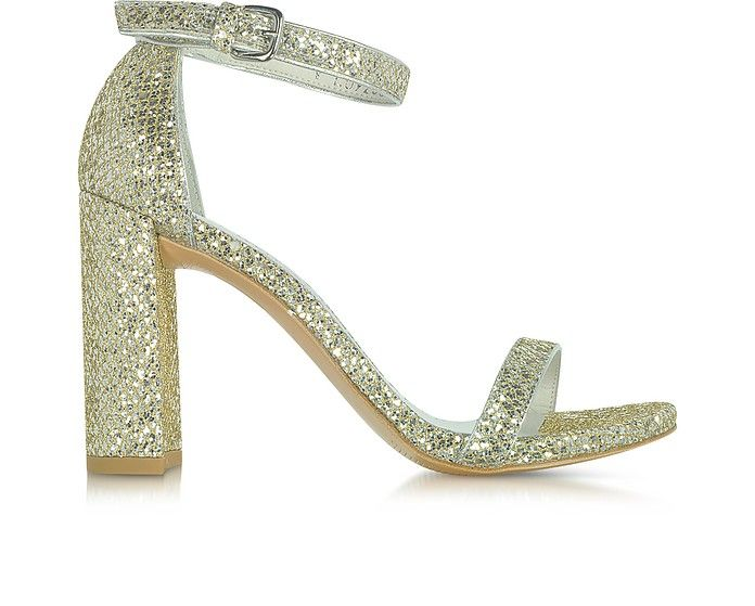 3397908b4ff63 STUART WEITZMAN Walkway Chrome Glitter Lace High Heel Sandals.   stuartweitzman  shoes