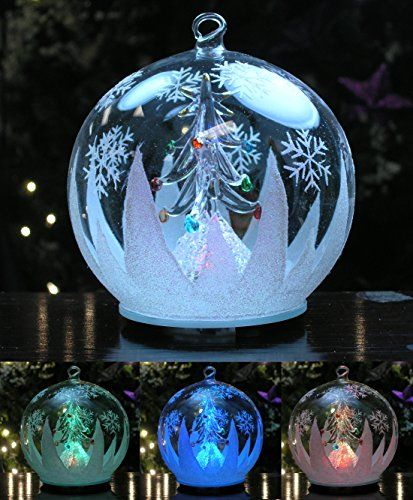 Led Glass Globe Christmas Tree Ornament With Tree Inside Color Changing Lights Clear Glass Christmas Ornaments Christmas Tree Ornaments Color Changing Lights