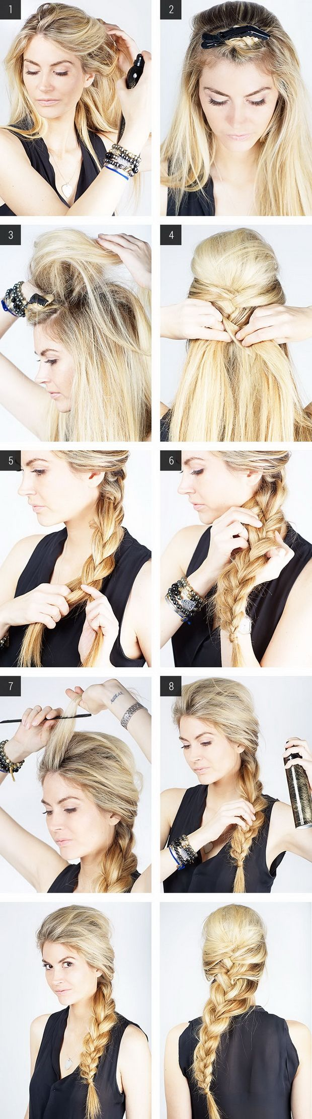 Messy french braid with poof hair and beauty pinterest messy