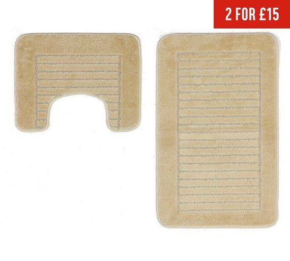 Buy Argos Home Striped Bath and Pedestal Mat Set - Cream ...