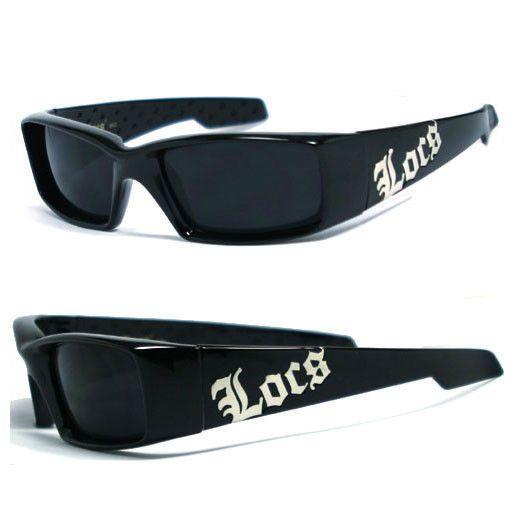 Discounted Locs Mens Cholo Biker Sunglasses w// Free Pouch Shiny Black LC81