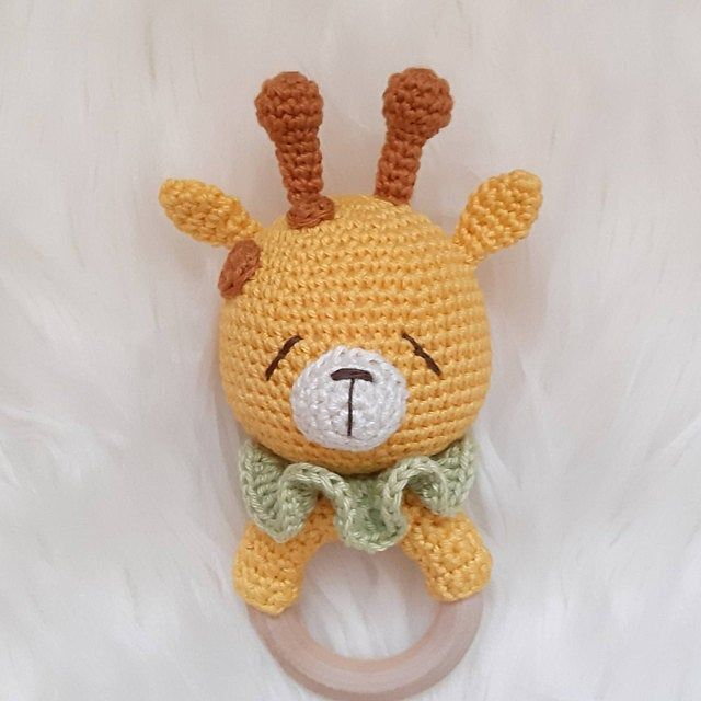Crochet rattle Giraffe pattern, amigurumi, PDF, crochet toys, gnawer, amigurumi pattern, crochet rattle pattern