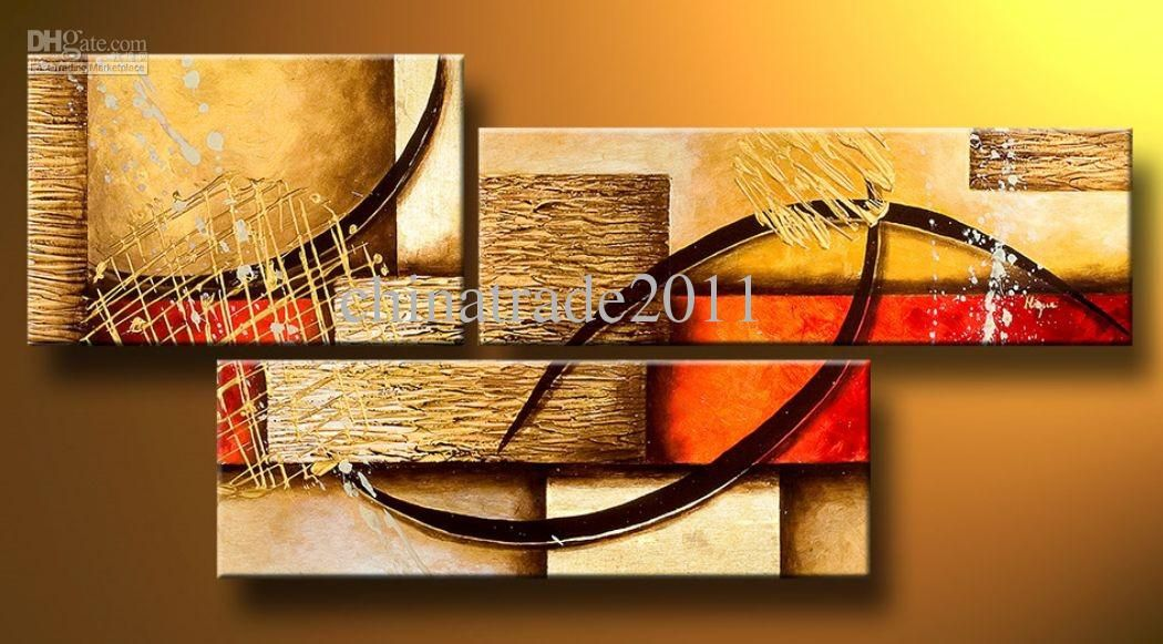 Art Modern Abstract Oil Painting Multiple Piece Canvas Art Sets 3 Pcs Funky Wall  Decor High