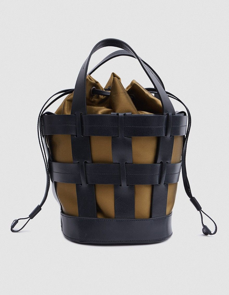 9b24a2ee4b5 Cage tote bag in Black Leather (Trademark). Two top handles. Removable satin