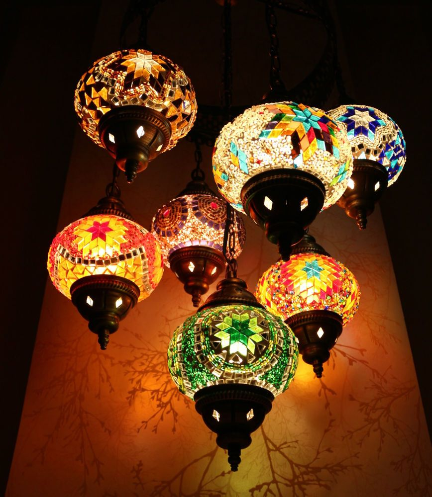 turkish style lighting. multicolour turkish moroccan style mosaic hanging light hand made large 7 globe lighting
