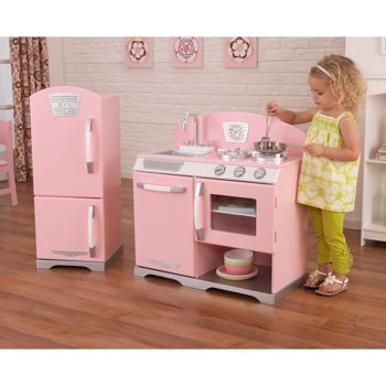 Costco Kidkraft 2 Piece Pink Retro Kitchen Looks Like Pottery