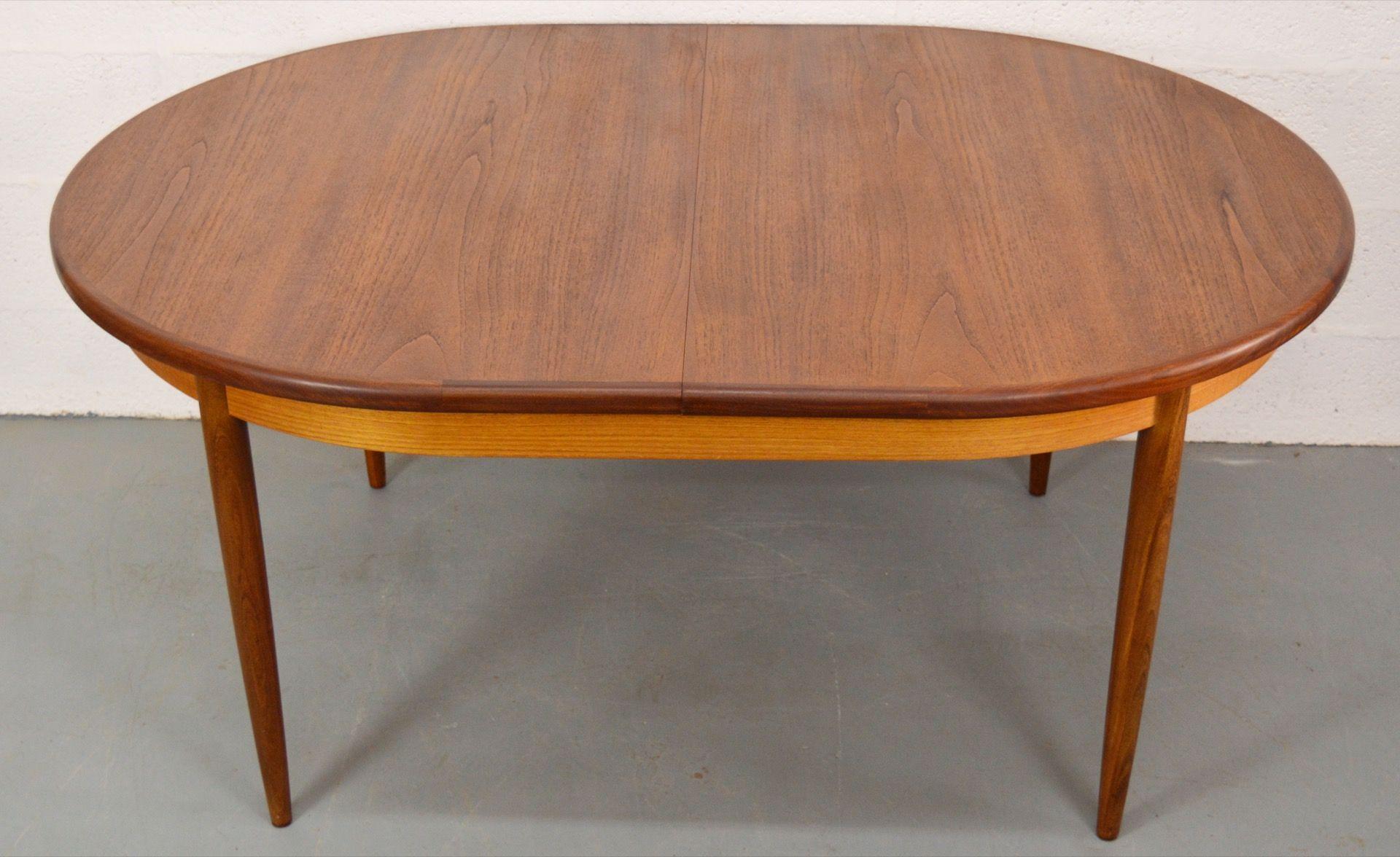 Mid Century Oval Extendable Teak G Plan Fresco Dining Table
