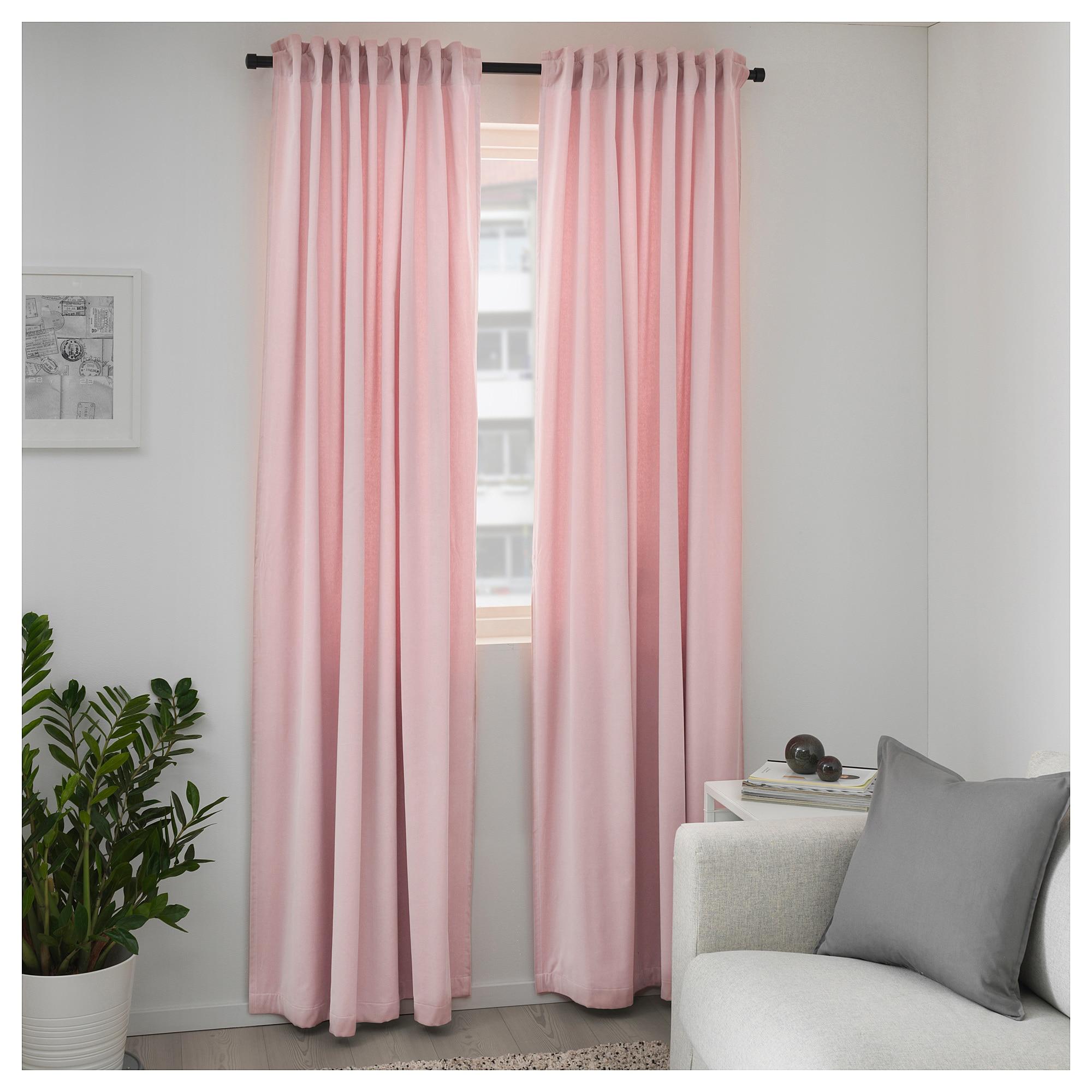 Ikea Sanela Room Darkening Curtains 1 Pair Light Pink Living