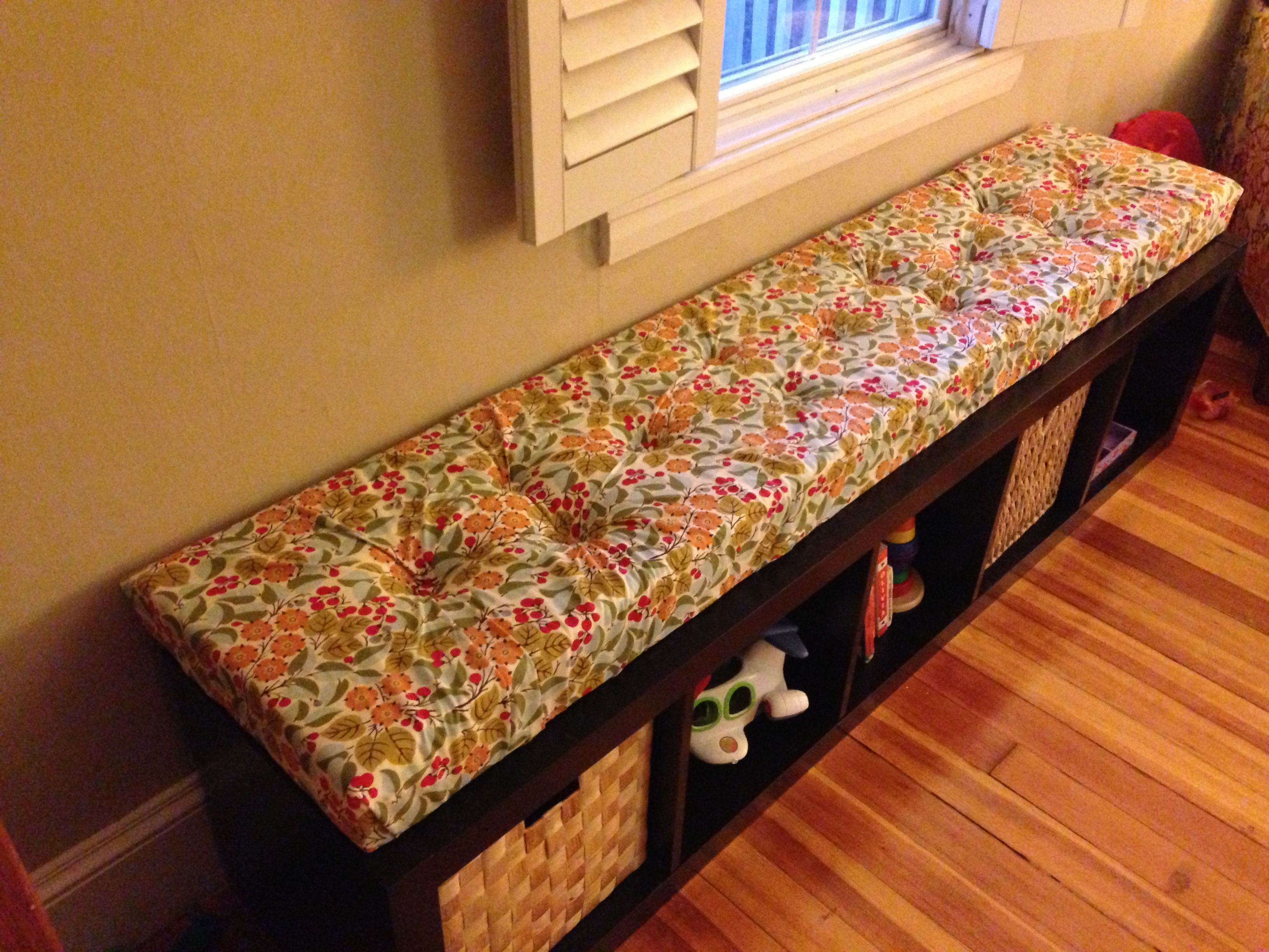 Bench Cushion Ideas Part - 27: DIY Tufted Window Seat Cushion For IKEA Expedit Shelving