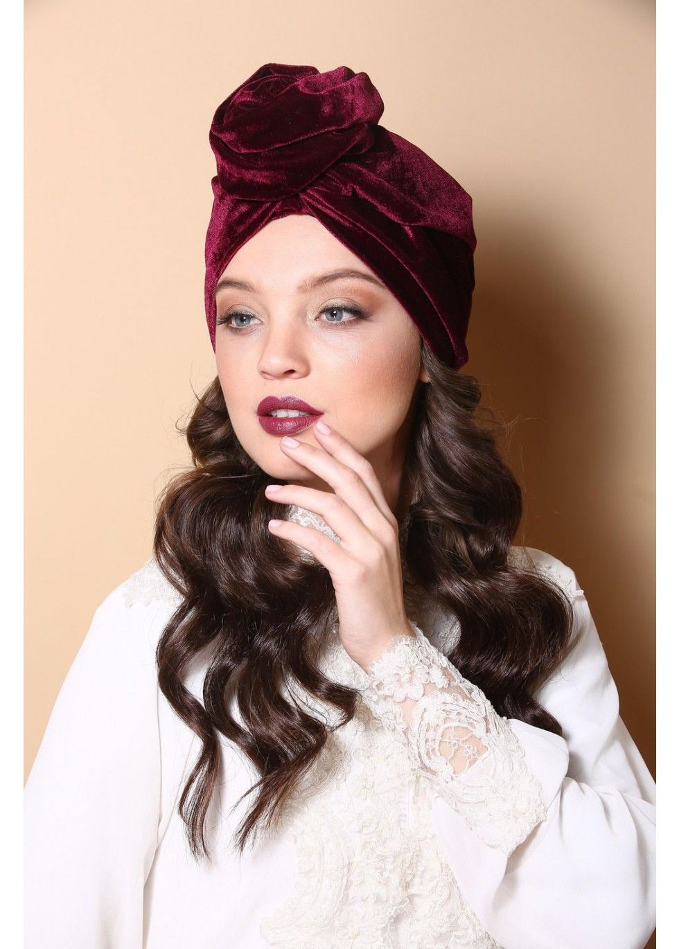 Flower style turban in wine colored velvet. The Turban is stretchy and  light. Turban hats 29de89578b0c