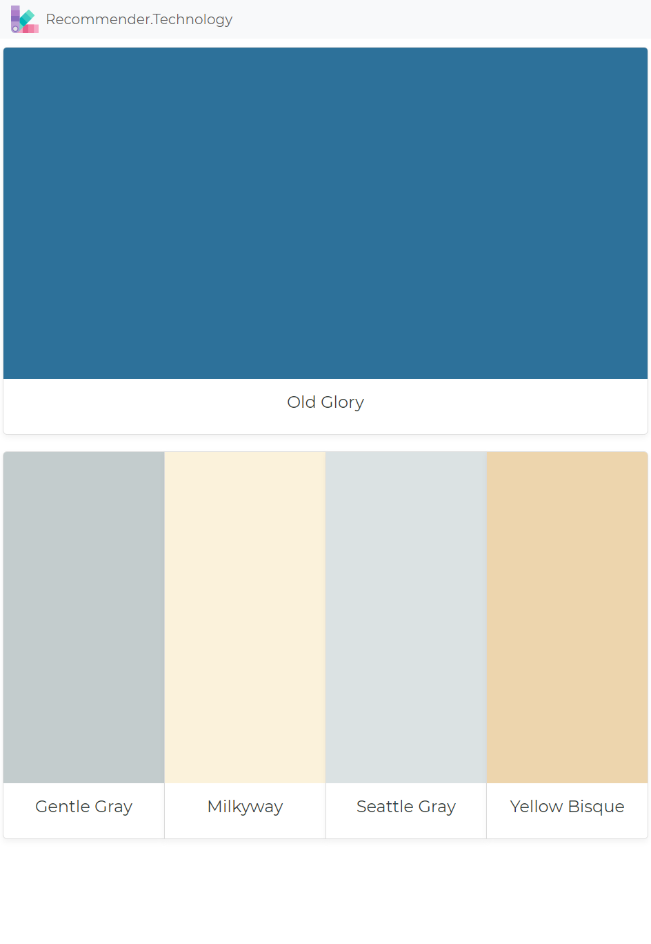 Old Glory Gentle Gray Milkyway Seattle Yellow Bisque Paint Color Palettes