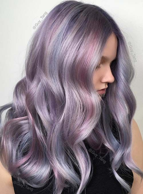 Pastel and Neon Hair Colors in Balayage and Ombre Lavender Hair