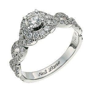 Neil Lane 14 carat white gold 098 carat round halo ring 2250