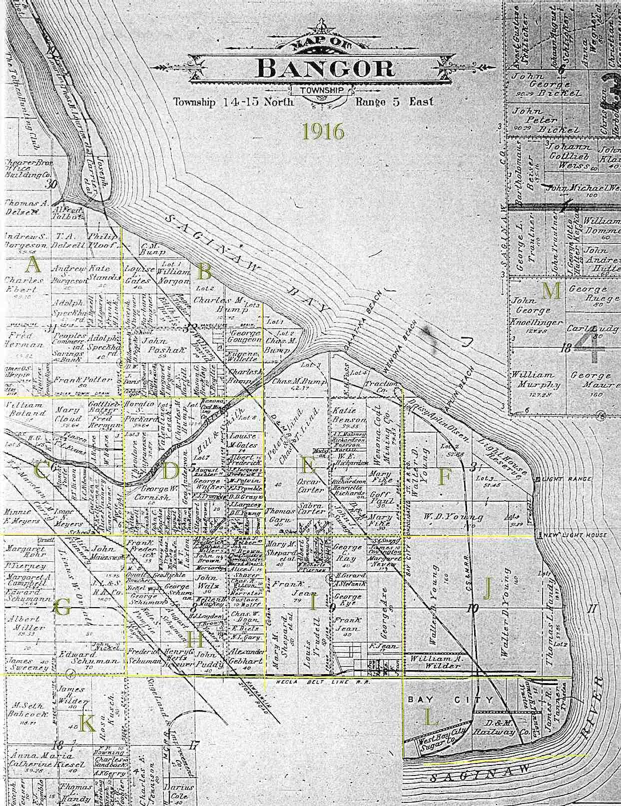 1916 Bangor Township Plat Map Bay County Mi Bay County Map Bay City