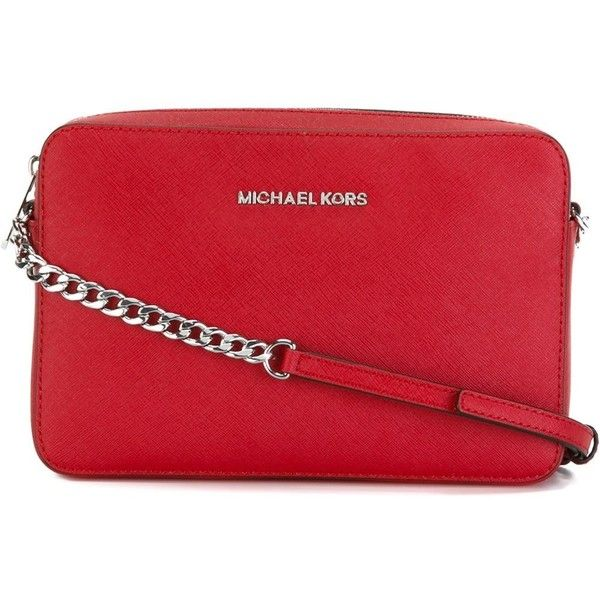 Michael Michael Kors Jet Set Travel Crossbody Bag (580 ILS) ❤ liked on Polyvore featuring bags, handbags, shoulder bags, red, leather crossbody purse, red crossbody, leather cross body purse, leather shoulder bag and red leather purse