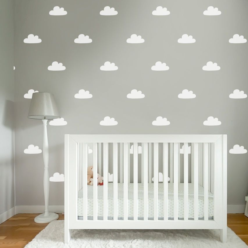 60 Baby Nursery Bedroom Sky Cloud Wall Sticker Decals Colour Options