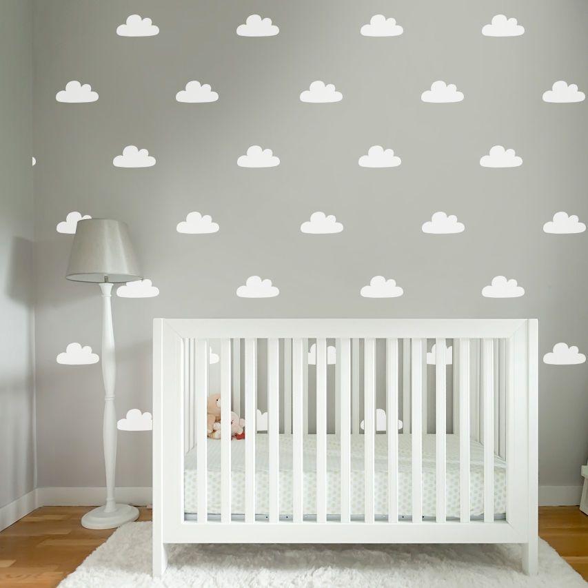 Baby Nursery Cloud Pattern Wall Paper Look Removable Sticker Vinyl