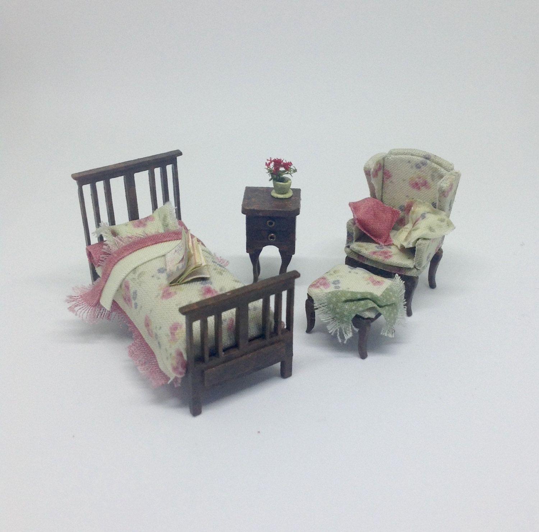 Miniature Dollhouse Bedroom Furniture Miniature 1 4 148 Quarter Vintage Edwardian Bed Wingback Chair