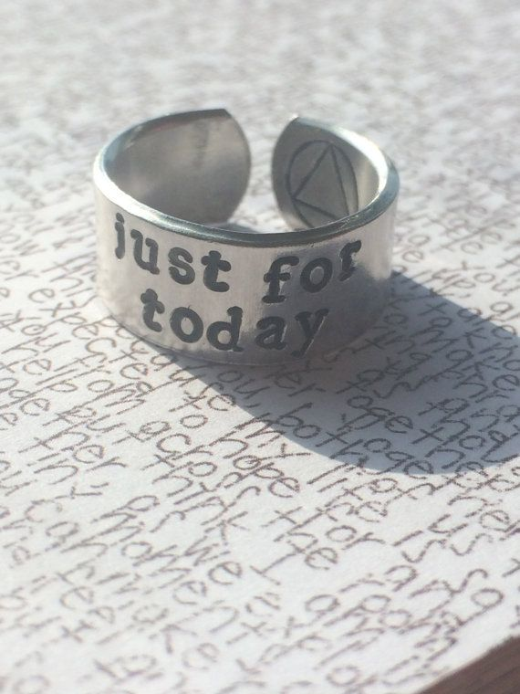 Just For Todayone Day At A Time Stamped Aluminium Cuff Ring