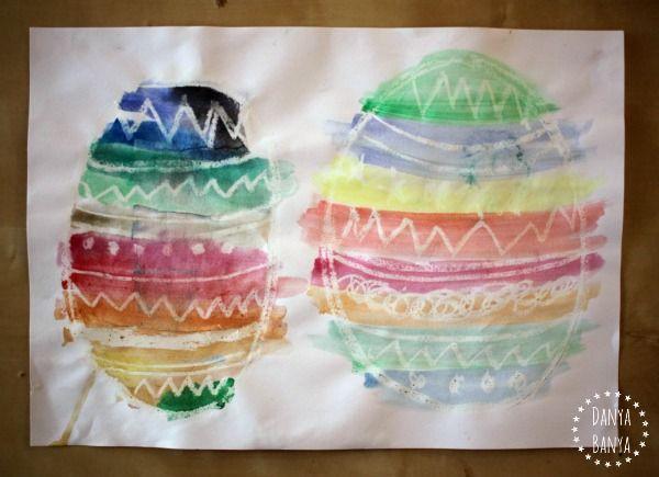 Aigua color pintures ou de Pasqua amb crayón resisteixen tècnica