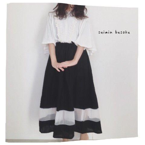 【suiminbusoku】透明ラインスカート ブラック