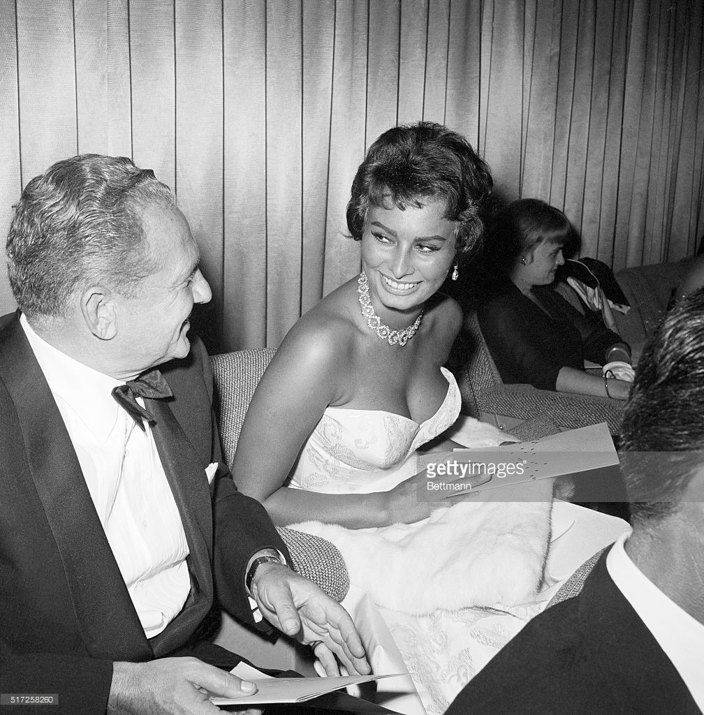 Sophia Loren and Don Hartman at the Hollywood premiere of The Pride ...
