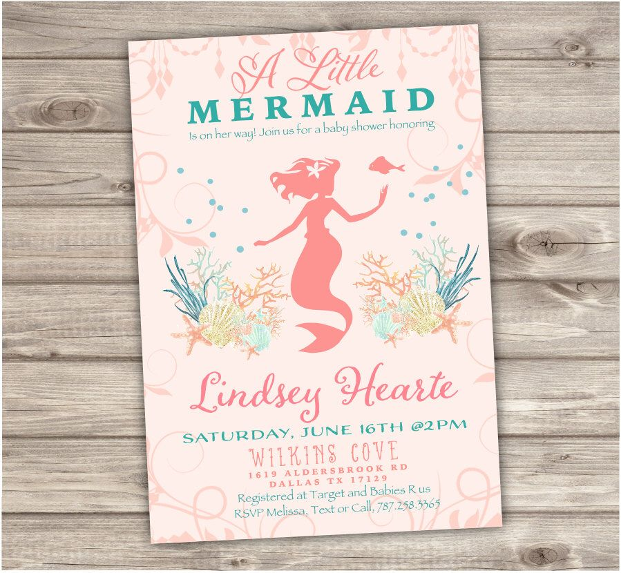 Coral Mermaid Baby Shower Invitations Shabby Chic Little Mermaid ...