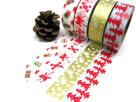 Christmas Gift Wrap Washi Tape Set of 4: Candy Canes, Snowman, Pine Trees, Colorful Gifts