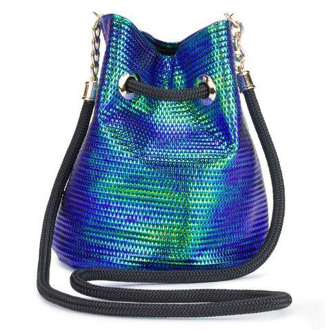 3873279aa Iridescent Blue-Green Bucket Bag Balde Saco, Bolsas, Compras, Moda, Verde