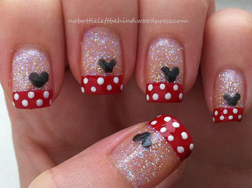 minnie mouse nail art - Minnie Mouse Nail Art Nails And Nail Designs Pinterest