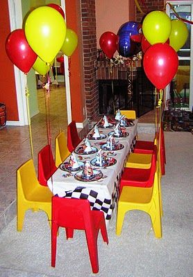 Lightning McQueen Birthday | Red u0026 Yellow Balloons on Chairs & Lightning McQueen Birthday | Red u0026 Yellow Balloons on Chairs ...
