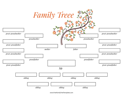 4 Generation Family Tree Many Siblings Template Printable Pdf