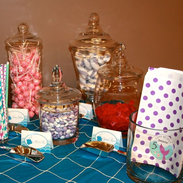 Candy Bar was styled by B. Lee Events. Candy provided by Kara's Party Ideas and Oh! Nuts. Mermaid Printable Labels created by Marley Designs (on Etsy). Favor Tags were created by oliveINK (on Etsy) and printed on adhesive round labels by Paper Source.