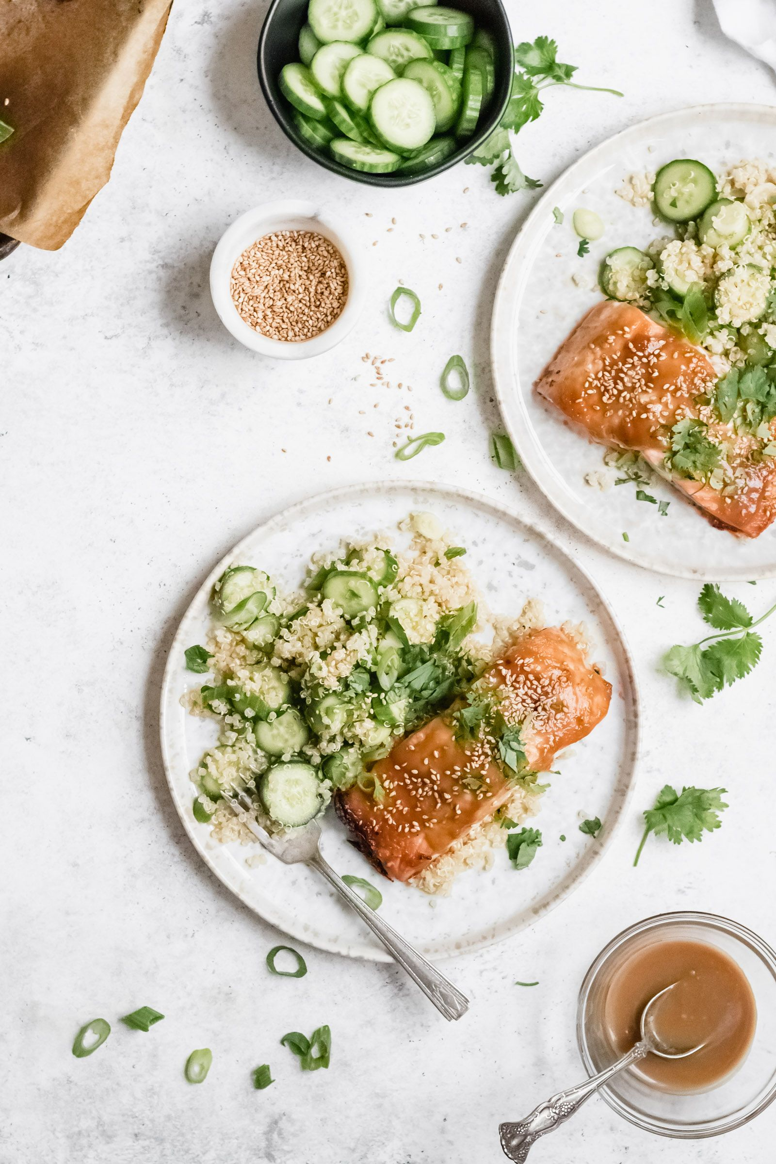 Miso Honey Glazed Salmon + Sesame Cucumber Quinoa | Well Fed Soul Miso Honey Glazed Salmon is a ten