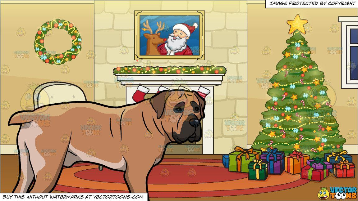 an intrigued boerboel dog and a fireplace beside a christmas tree rh pinterest com