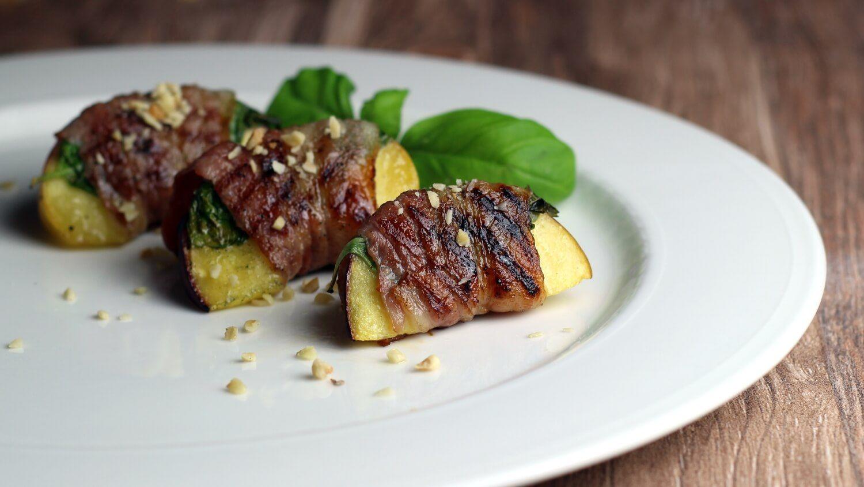 bacon pfirsich vom grill   recette   beilagen grillen   grillrezepte