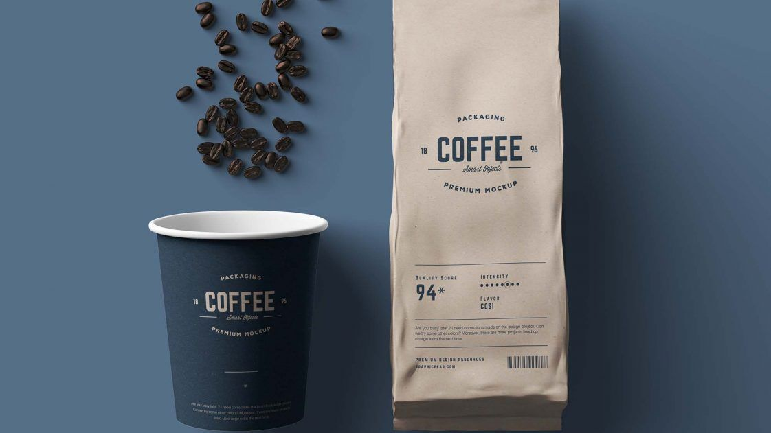 Download Free Paper Coffee Bag And Paper Coffee Cup Mockup Package Mockups Paper Coffee Cup Coffee Cups Coffee